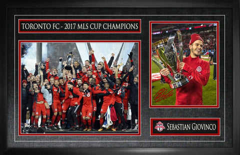 Toronto FC Giovinco Signed 8x10 with 11x14 2017 MLS Champion Photo Framed