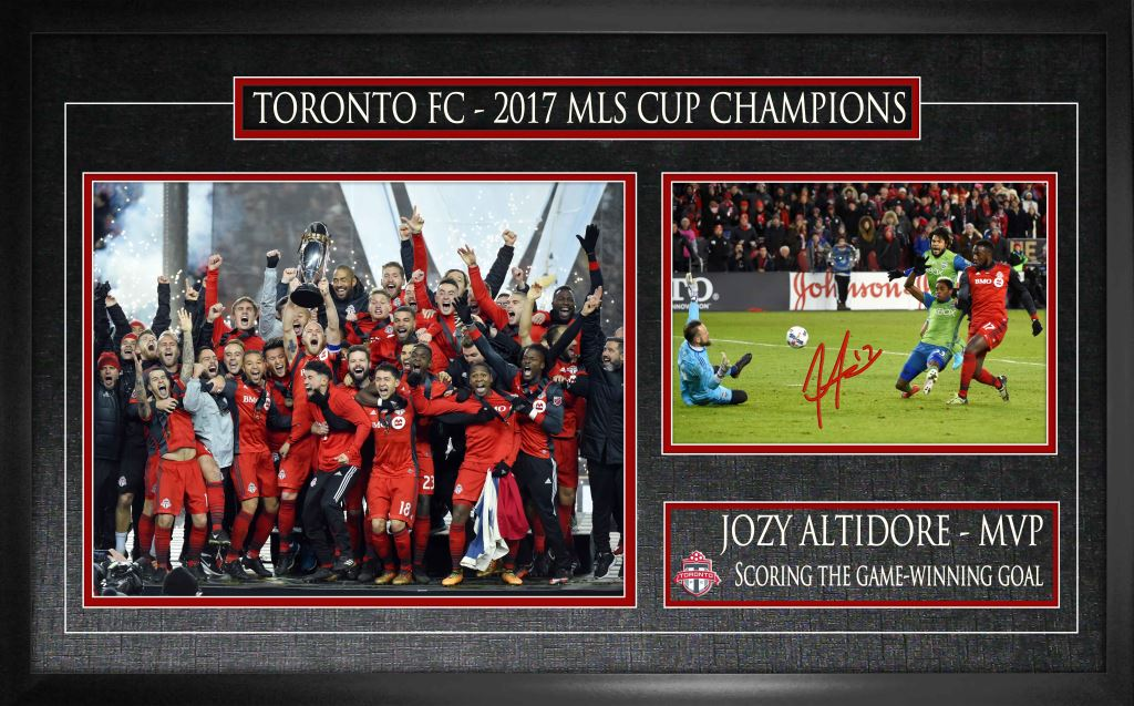 Toronto FC Altidore Signed 8x10 with 11x14 2017 MLS Champion Photo Framed
