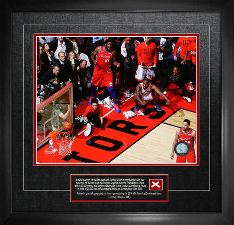 Raptors Leonard Close-Up Unsigned Game 7 Buzzer Beater vs Philadelphia with Game-Used Netting Framed
