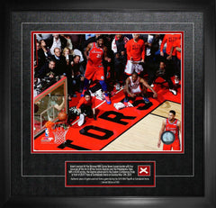 Raptors Kawhi Leonard Close-Up Unsigned Game 7 Buzzer Beater vs Philadelphia with Game-Used Netting Framed
