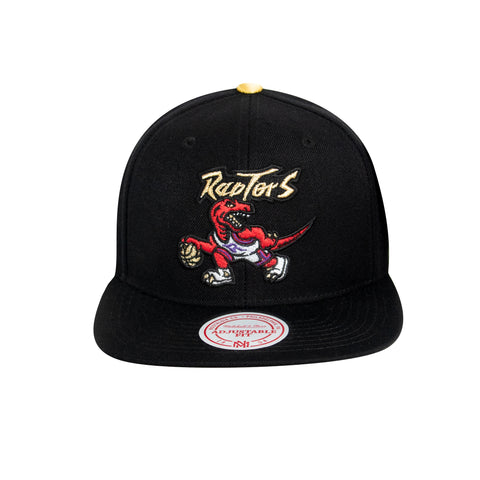 Raptors Mitchell & Ness Men's HWC Two-Tone Gold Tip Snapback - Black