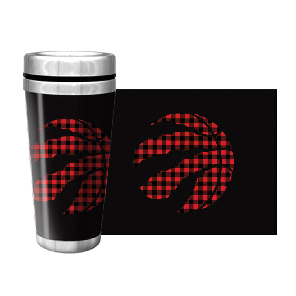 Toronto Raptors Part Buffalo Plaid 16oz. Full Wrap Travel Mug