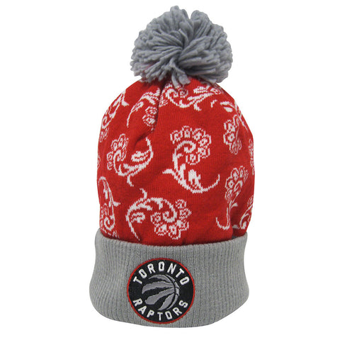 Toronto Raptors Adidas Ladies Primary Logo Cuffed Pom Knit Toque - Red