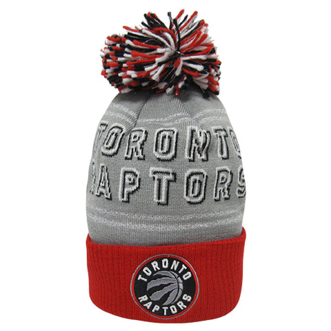 Toronto Raptors Adidas Ladies Primary Logo Cuffed Pom Knit Toque - Grey