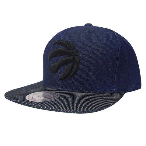 Toronto Raptors Mitchell & Ness Men's Raw Denim 3T PU Logo Snapback