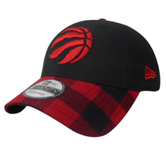 Toronto Raptors New Era Buffalo Plaid Black Adjustable Strapback