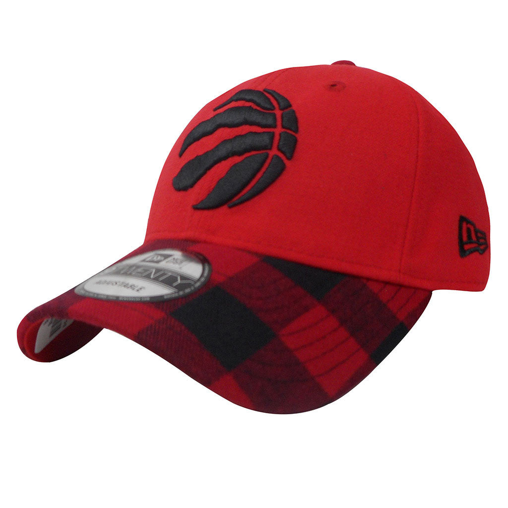 Toronto Raptors New Era Buffalo Plaid Red Adjustable Strapback