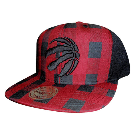 Toronto Raptors Mitchell & Ness Buffalo Plaid Partial Logo Snapback