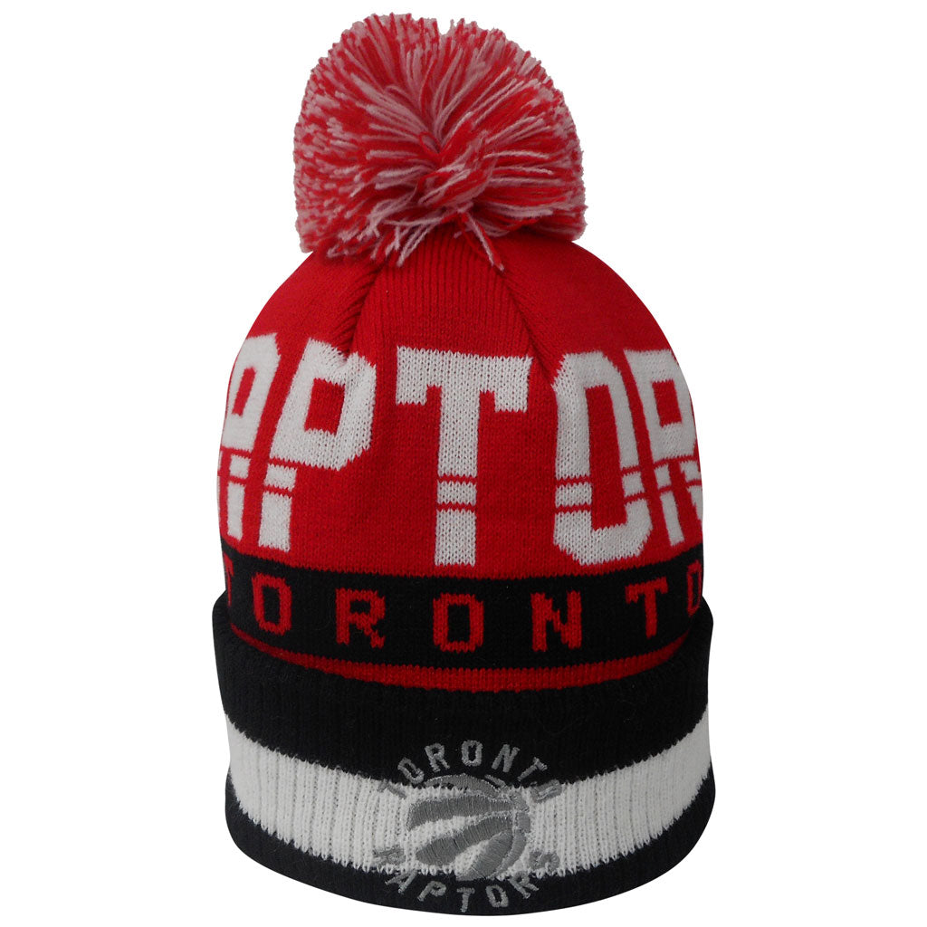 Raptors Youth Bar Jacquard Cuffed Pom Toque