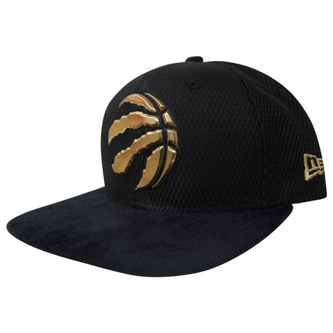 Toronto Raptors Men's Authentic On Court Black and Gold 950 Snapback Hat