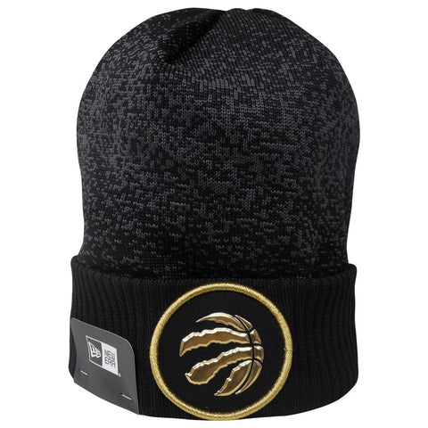 Toronto Raptors Men's Authentic On Court Black and Gold Cuffed Pom Toque