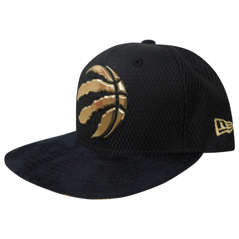 Toronto Raptors Youth Authentic On Court Black and Gold 950 Snapback Hat