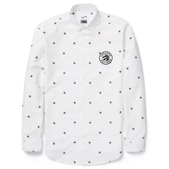 Toronto Raptors Frank & Oak Men's Court-Side Oxford All Over Print L/S - White - shop.realsports