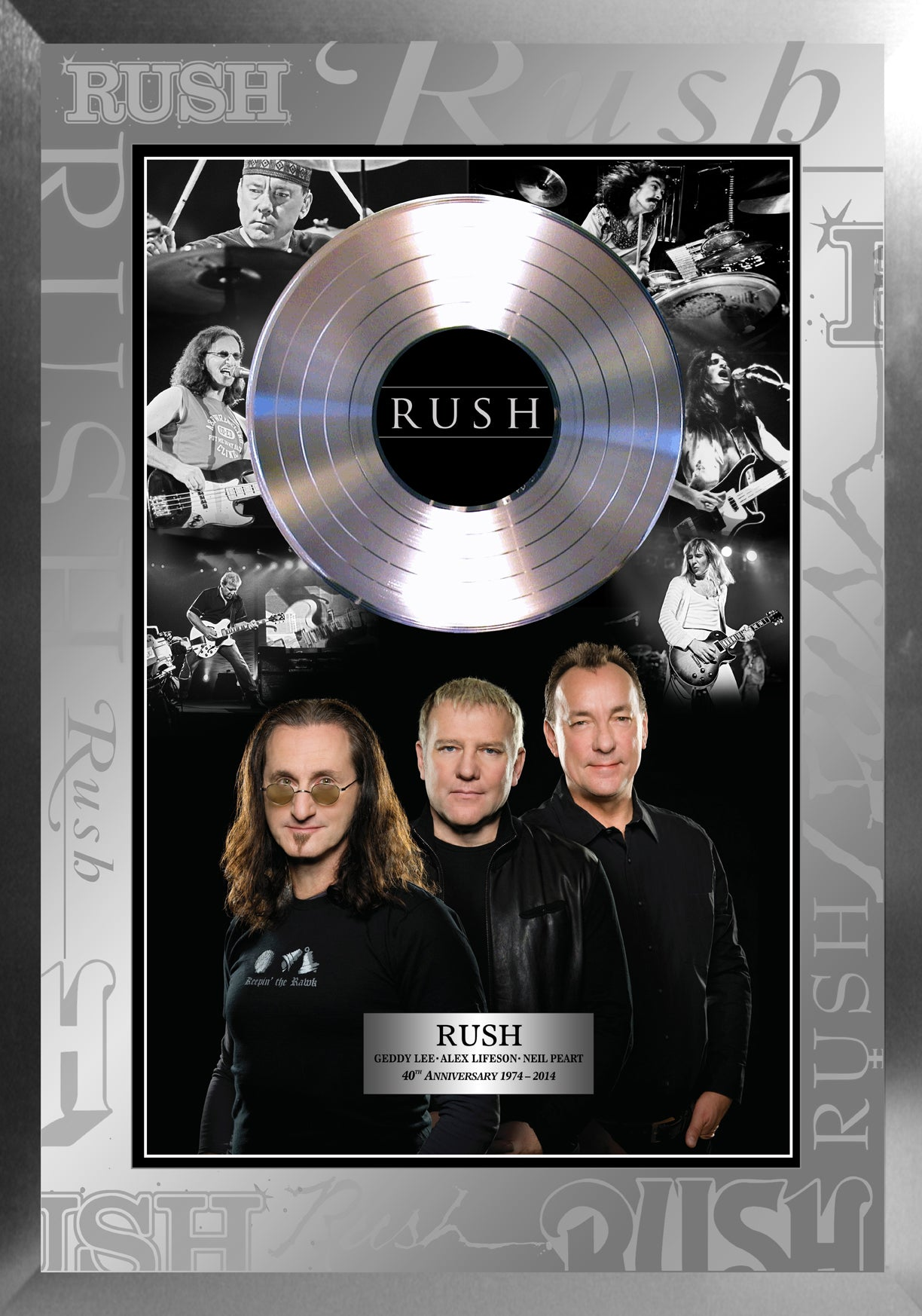 Rush Photo Collage With Replica Record Celebrating the 40th Anniversary Framed