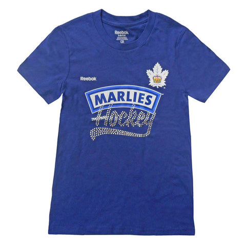 Toronto Marlies Reebok Youth Girls Rhinestone Wordmark S/S Tshirt