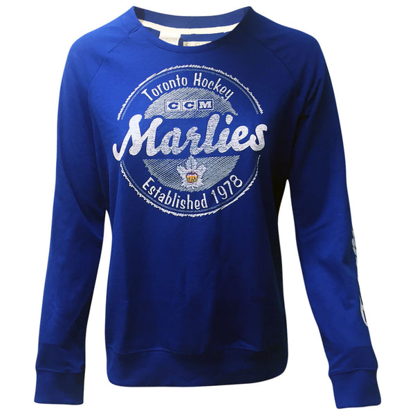 Toronto Marlies Reebok Ladies CCM Scribbled Script French Terry Crew
