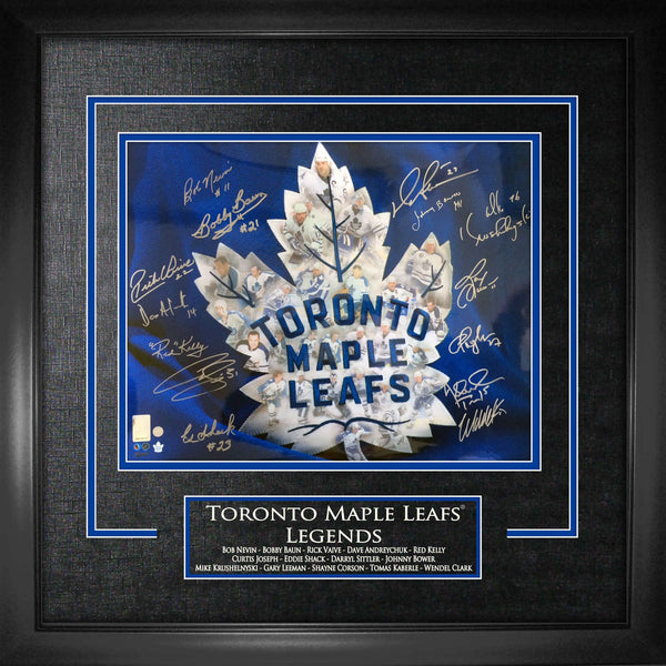 Maple Leafs Multi Signed Leafs Legends 16x20 Photo Framed