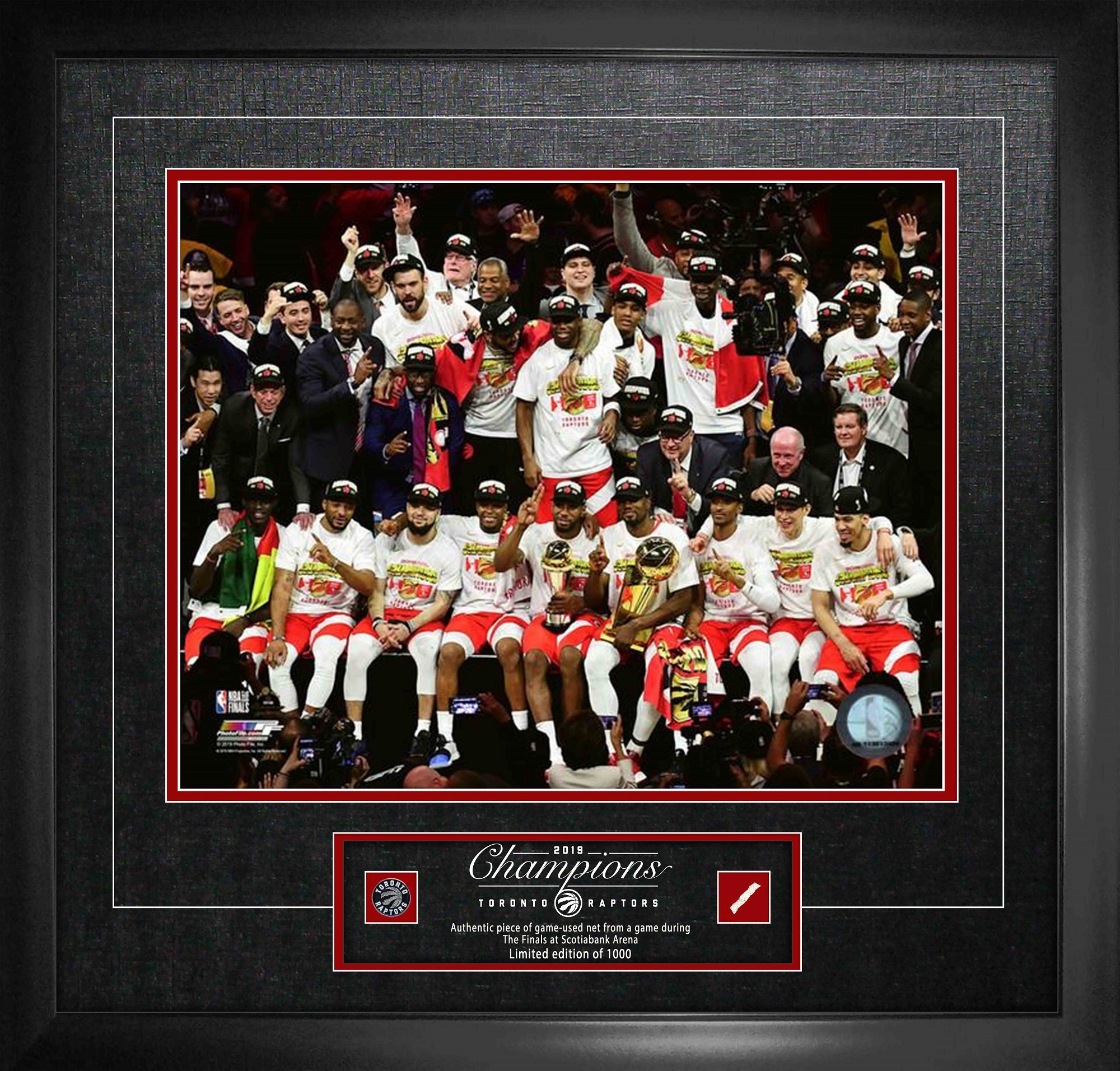 Raptors 2019 NBA Champions 16x20 Photo with Game-Used Netting Framed