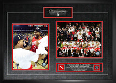 Raptors 2019 NBA Champions Duo 8x10 Photos with Game-Used Netting Framed