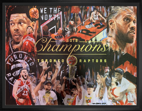 Raptors 2019 NBA Champs Artist Print 20x27 Canvas Framed