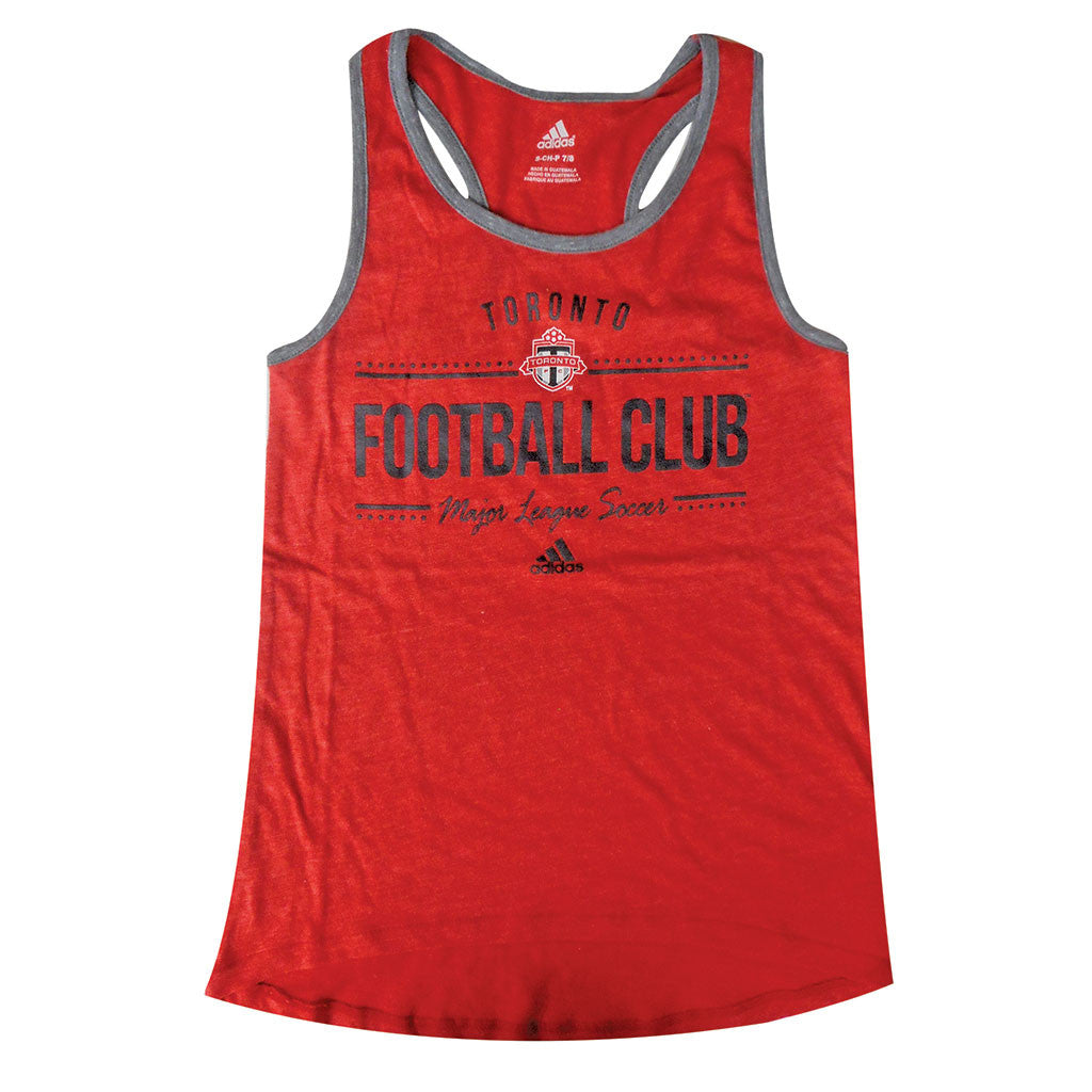 Toronto FC Adidas Youth Girls' Honeycomb Lines Tank
