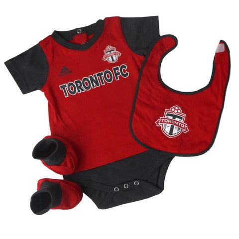 Toronto FC Adidas Infant Mismatch Essentials Creeper, Bib & Bootie Set