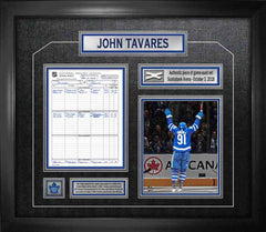 Tavares Unsigned '1st Goal as a Maple Leaf' with Scoresheet Framed