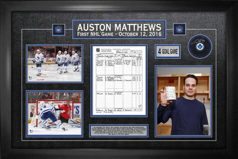 Toronto Maple Leafs Auston Matthews Signed Puck with Photos and Scoresheet Framed