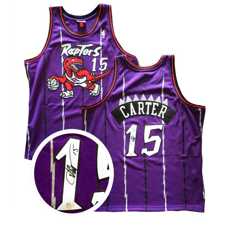 a1dedada5bc8 Vince Carter Signed Raptors Mitchell and Ness Purple Swingman Jersey –  shop.realsports