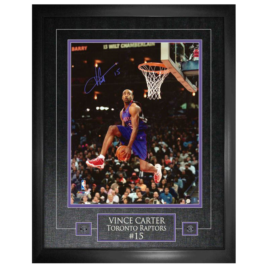 "Vince Carter Signed ""Purple Jersey Dunking""  11x14 Photo Framed"