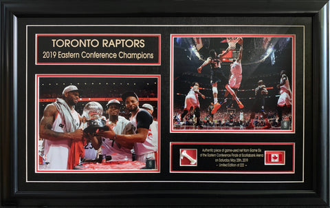 Raptors 2019 Eastern Conference Champions Duo 8x10 Photos with Game-Used Netting Framed