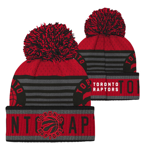 Raptors Youth Prime Jacquard Cuffed Pom Toque