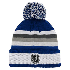 Maple Leafs NHL Youth Blue Line Jacquard Cuffed Pom Toque