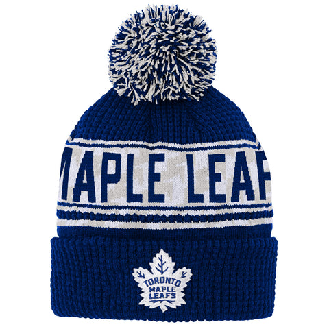 Maple Leafs Youth Red Line Jacquard Cuffed Pom Toque