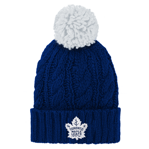 Maple Leafs Youth Cable Knit Cuffed Pom Toque