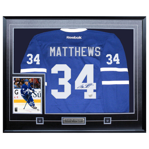 Matthews Leafs Signed Replica Blue Jersey Framed