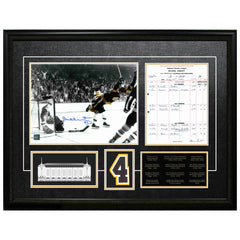 "Orr Bruins Signed ""the Goal"" photo and Scoresheet Framed"
