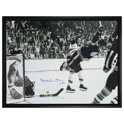 "Orr Bruins Signed ""the Goal"" Canvas Framed"
