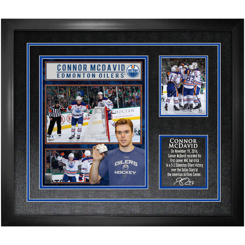 McDavid Oilers Unsigned First Hat-Trick Collage Frame – shop.realsports