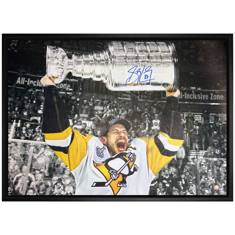 Crosby Penguins Signed 2017 Stanley Cup Canvas Framed