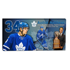 Matthews Unsigned Rookie of the Year Leafs Canvas Framed