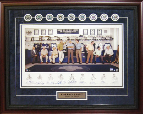 Maple Leafs Captains Row Signed by Nine Captains Framed