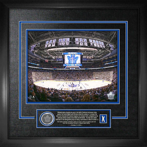 Maple Leafs ACC Banner Raising Night with Game Used Ice and Game Used Netting Framed