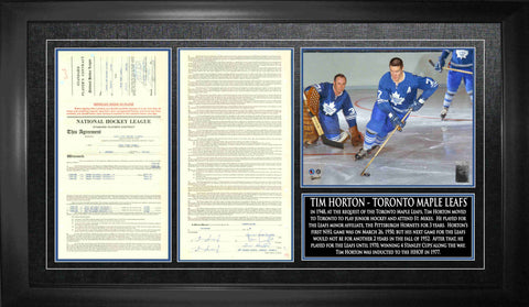 Maple Leafs Tim Horton Unsigned Replica Contract Framed