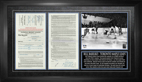 Maple Leafs Bill Barilko Unsigned Replica Contract Framed