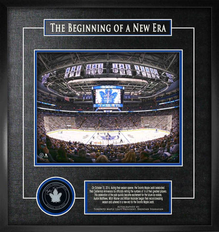 """Beginning of a New Era"" Shadowbox with a Signed Shanahan Puck Framed"