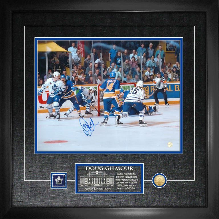 "Maple Leafs Doug Gilmour Signed ""Wrap-Around Goal"" 11x14 Photo Framed"