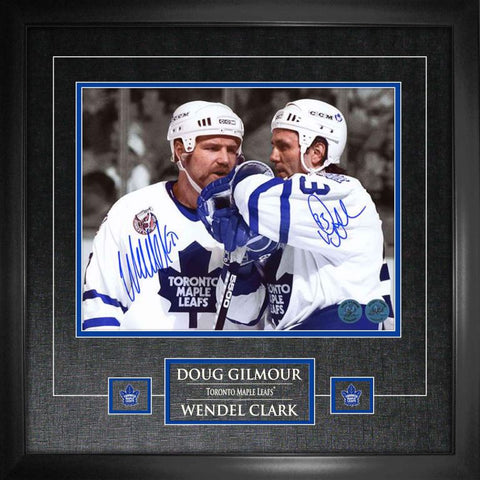 Maple Leafs Clark/Gilmour Duo Signed 11x14 Photo Framed