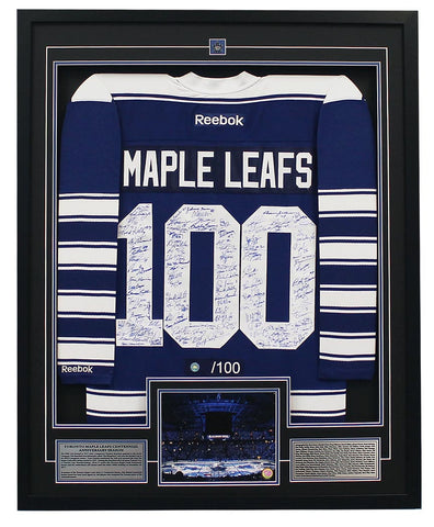 Maple Leafs Jersey Signed by 100 Framed
