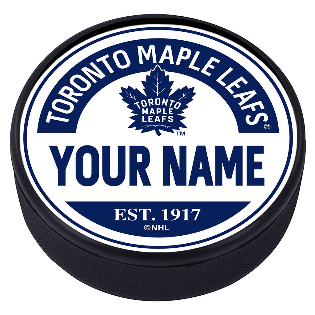 Toronto Maple Leafs Block Textured Personalized Puck